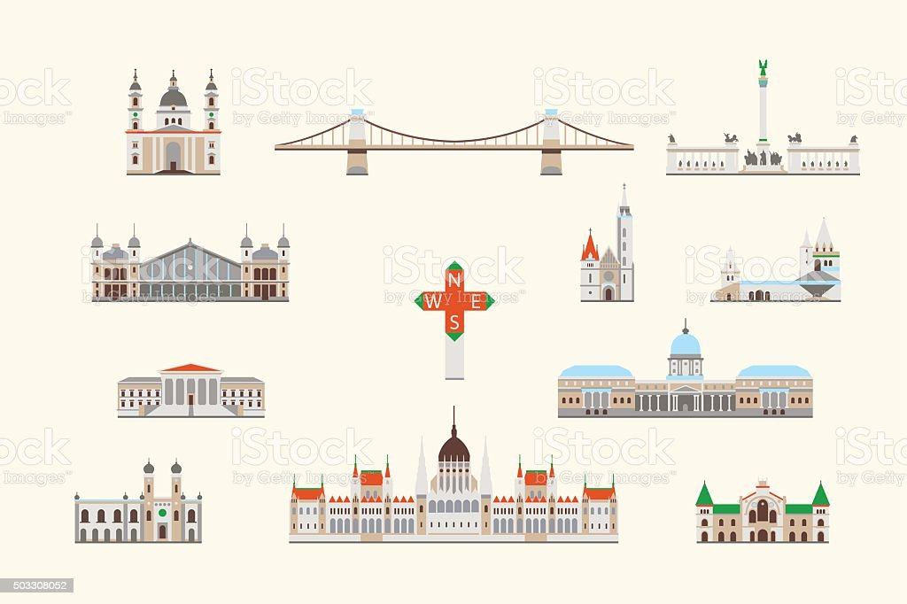 Budapest historical building vector art illustration