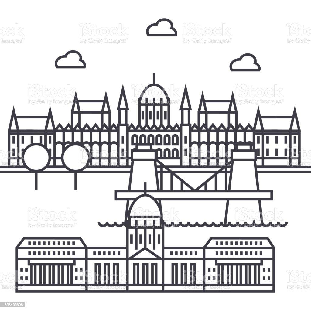 Budapest, Ungarn-Vektor-Linie-Symbol, Zeichen, Illustration auf Hintergrund, editierbare Striche – Vektorgrafik