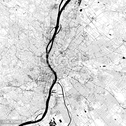 Topographic / Road map of Budapest, Hungary. Original map data is open data via © OpenStreetMap contributors. All maps are layered and easy to edit. Roads are editable stroke.