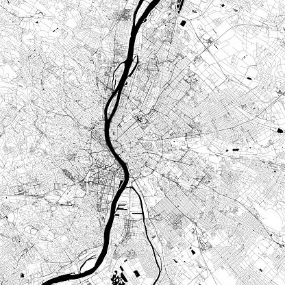 Budapest, Hungary Vector Map