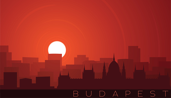Budapest Low Sun Skyline Scene