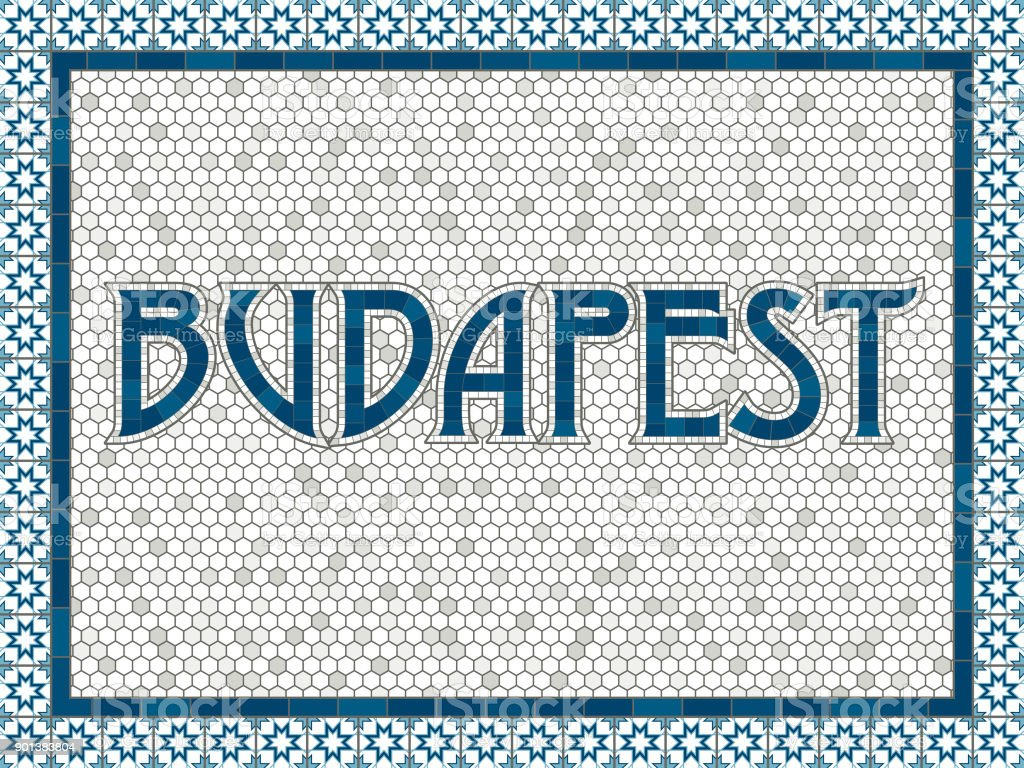 Budapest Old Fashioned Mosaic Tile Typography vector art illustration