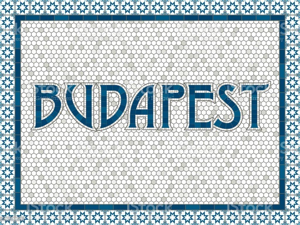 Budapest alte altmodische Mosaik Fliesen Typografie – Vektorgrafik