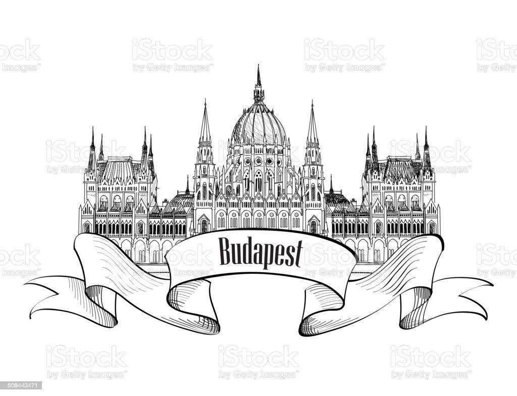 Budapest Parliament Building. Travel Hungary Label. vector art illustration