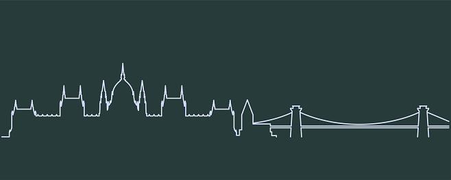 Budapest Single Line Skyline