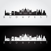 Budapest skyline and landmarks silhouette, black and white design, vector illustration.