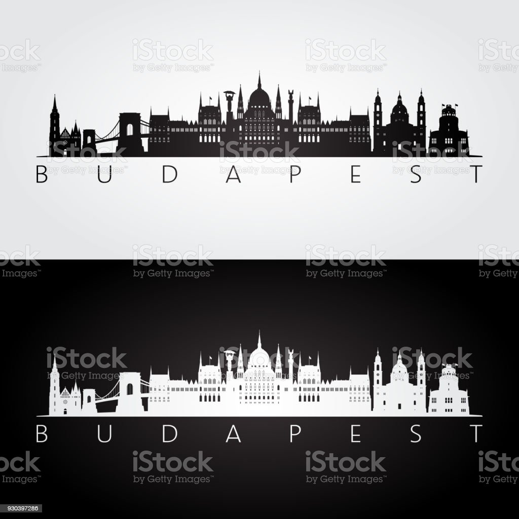 Budapest skyline and landmarks silhouette, black and white design, vector illustration. vector art illustration