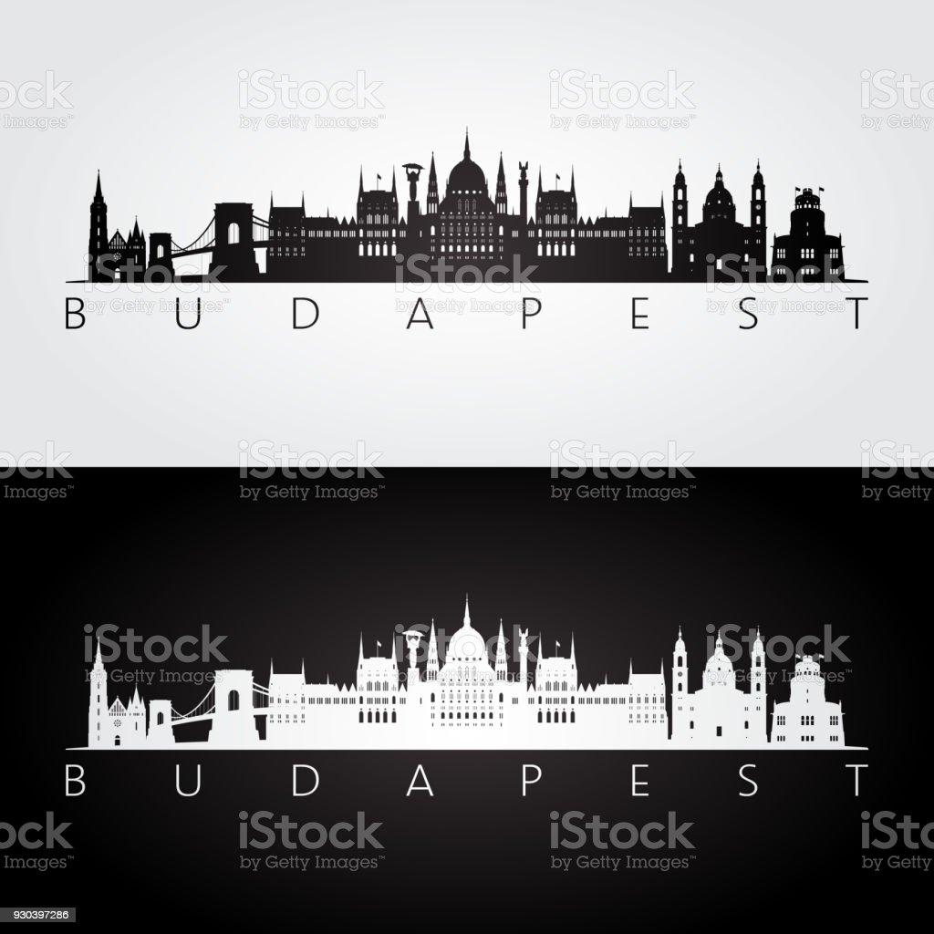 Budapest Skyline und Wahrzeichen Silhouette, schwarz / weiß Design, Vektor-Illustration. – Vektorgrafik