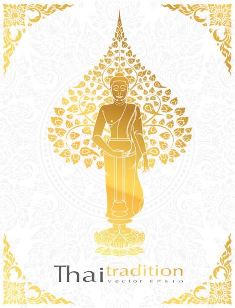 Buda y Bodhi árbol color oro de la tradición tailandesa, tarjeta de felicitación - ilustración de arte vectorial