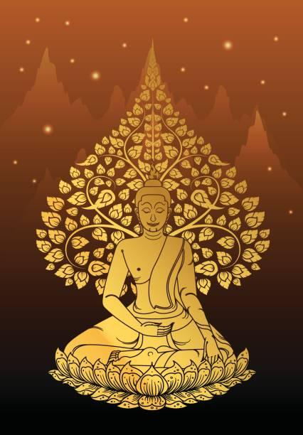 Buddha and Bodhi tree gold color of thai tradition,vesak day vector art illustration
