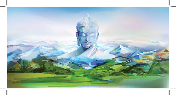 Buddha And Mountains, Vector Landscape vector art illustration