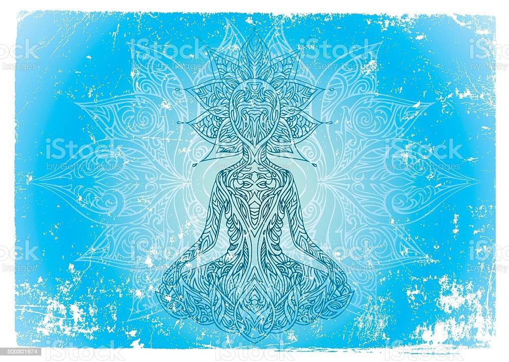 buddha being vector art illustration