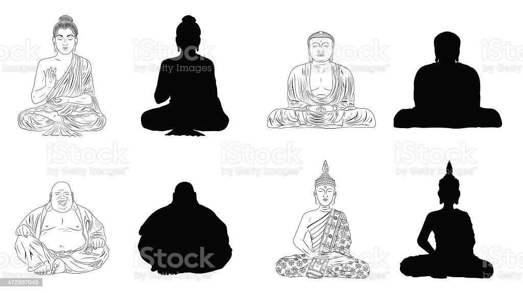 Buddha Black Vector Illustration Outline & Silhouettes vector art illustration