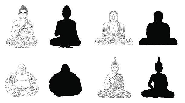 buddha black vector illustration outline & silhouettes - buddha stock illustrations, clip art, cartoons, & icons