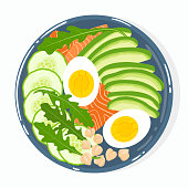 Buddha bowl with avocado, salmon, cucumber, eggs, chickpeas, rucola, isolated. Top view. Vector hand drawn illustration.
