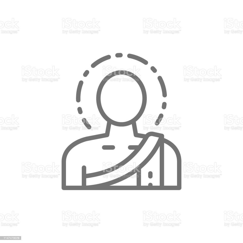 Vector buddha, buddhist monk line icon. Symbol and sign illustration...