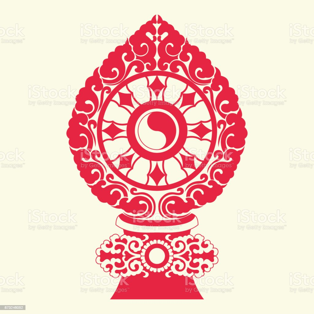 Buddha Dharma Wheel(Buddhist tradition pattern) vector art illustration