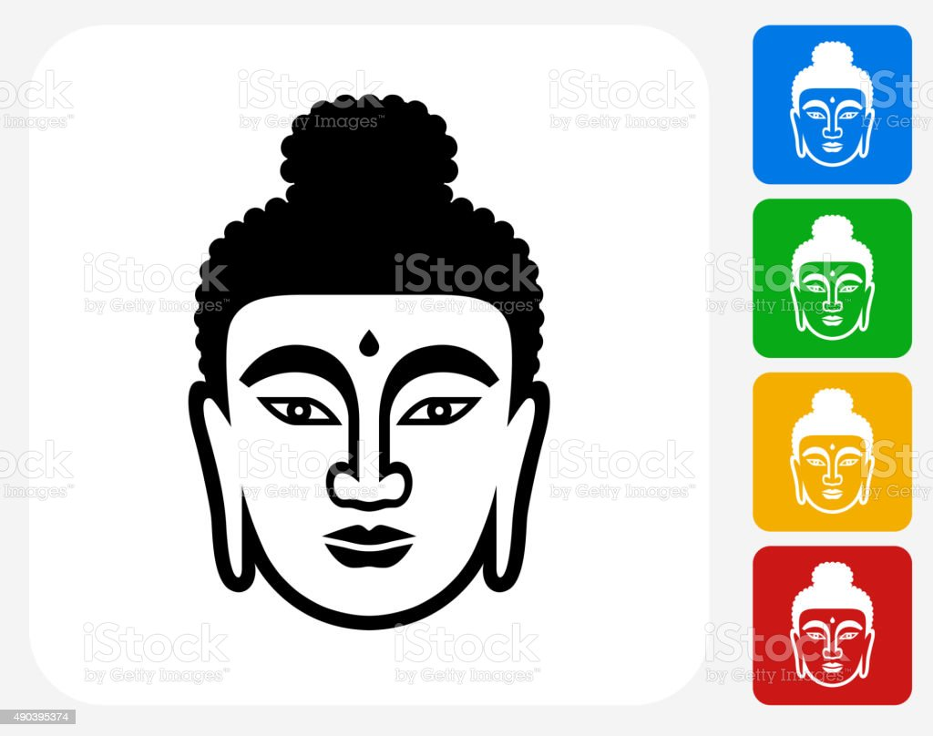 Buddha Face Icon Flat Graphic Design vector art illustration