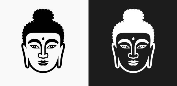 Buddha Face Icon on Black and White Vector Backgrounds vector art illustration