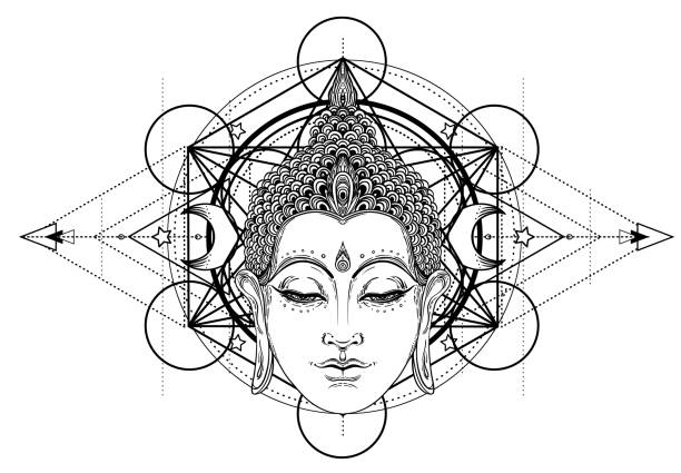 stockillustraties, clipart, cartoons en iconen met boeddha gezicht geïsoleerd op wit. esoterische vintage vector illustratie. indiase, boeddhisme, spirituele kunst. - boeddha