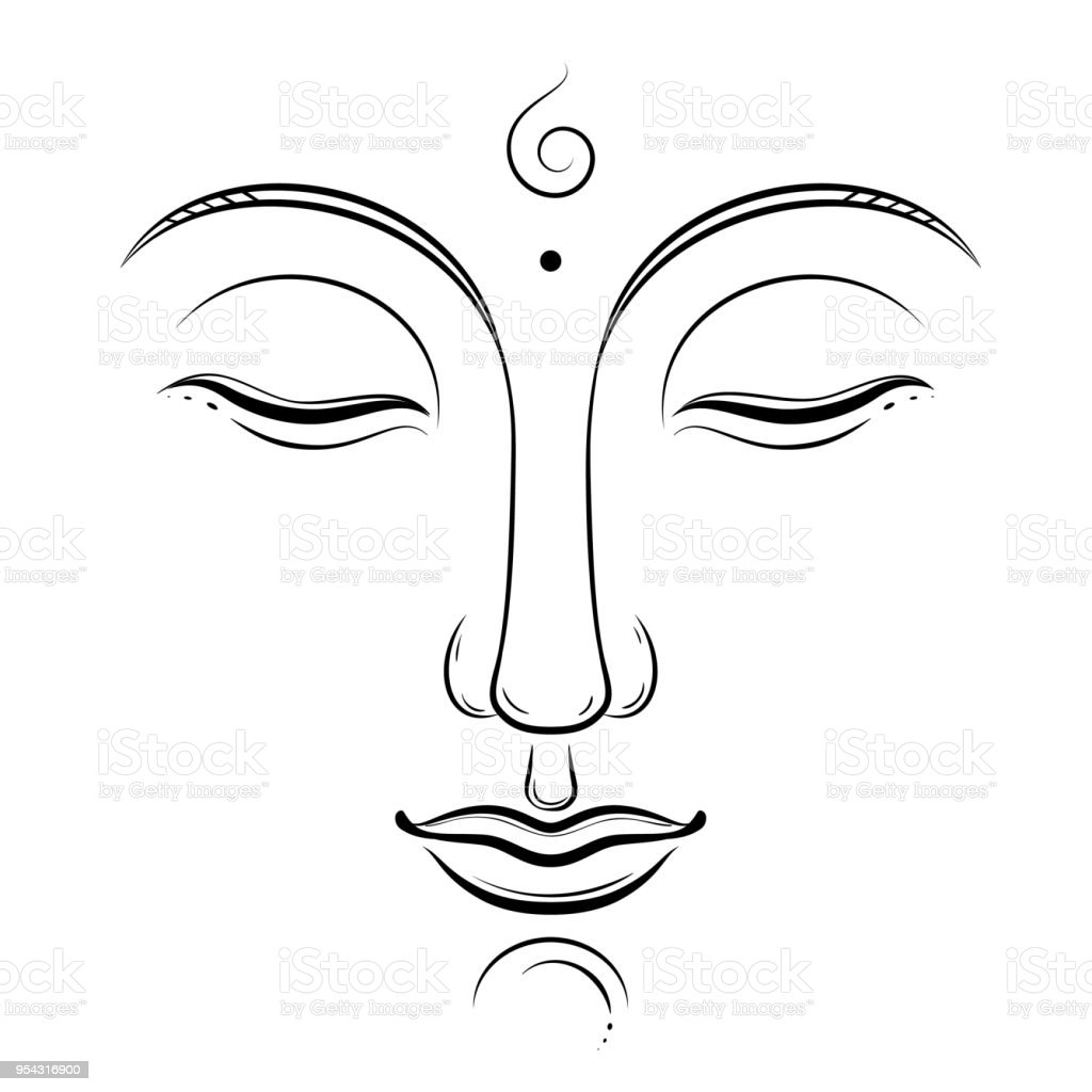 Buddha face vector art buddhism yoga sacred spiritual zen ink drawing isolated