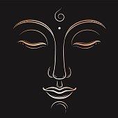 Buddha face vector art. Buddhism, yoga, sacred spiritual, zen ink drawing
