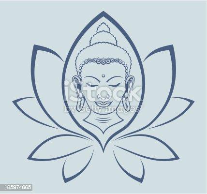 Buddha face in lotus flower.