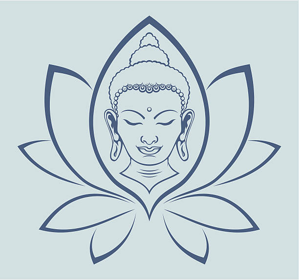 buddha face - buddha stock illustrations, clip art, cartoons, & icons