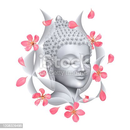 Buddha face with pink cherry flowers print