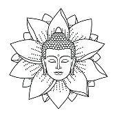 Buddha Head and Lotus