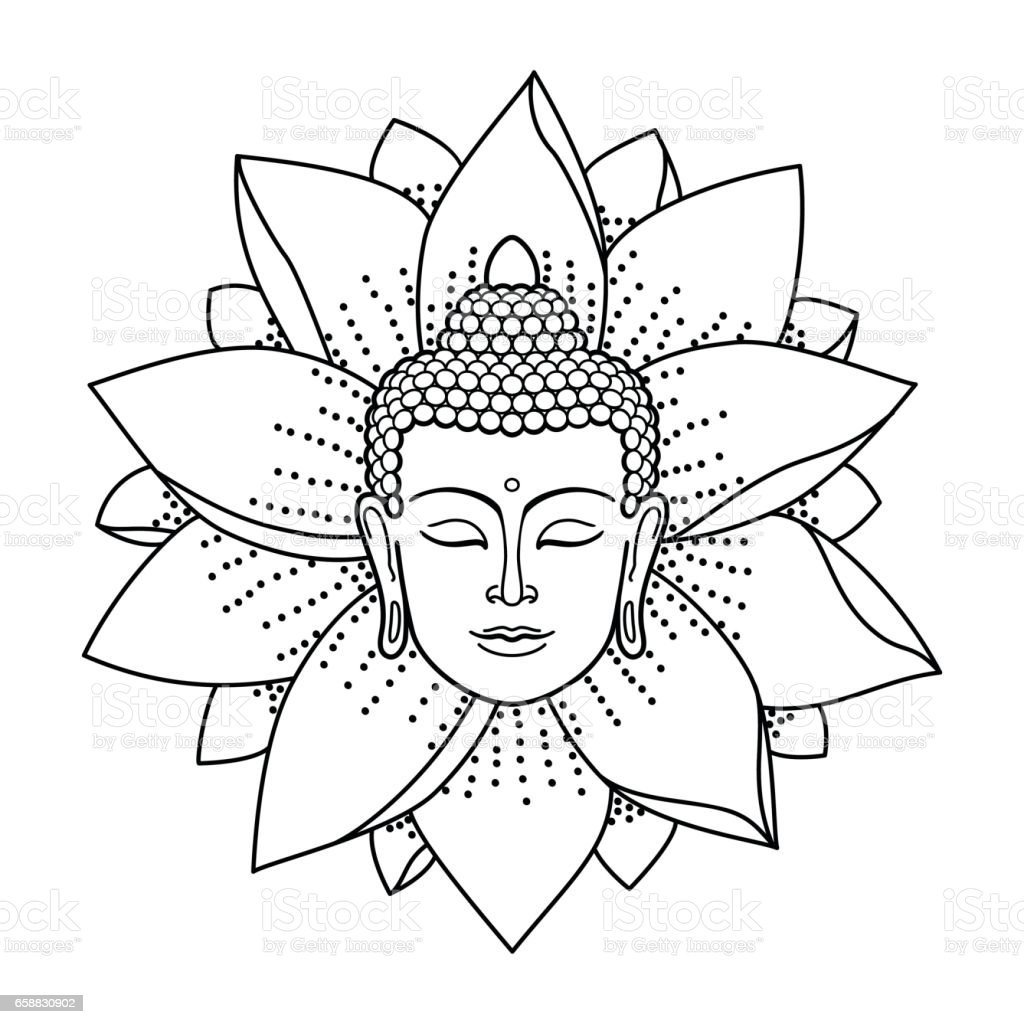 Buddha Head and Lotus vector art illustration