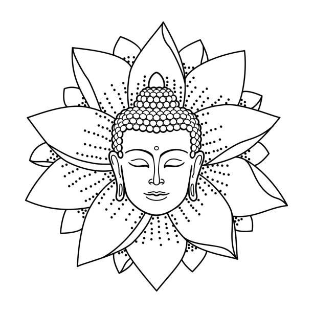 Buddha Head and Lotus vector art illustration
