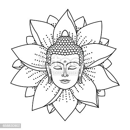 Buddha Head And Lotus Stock Vector Art & More Images of