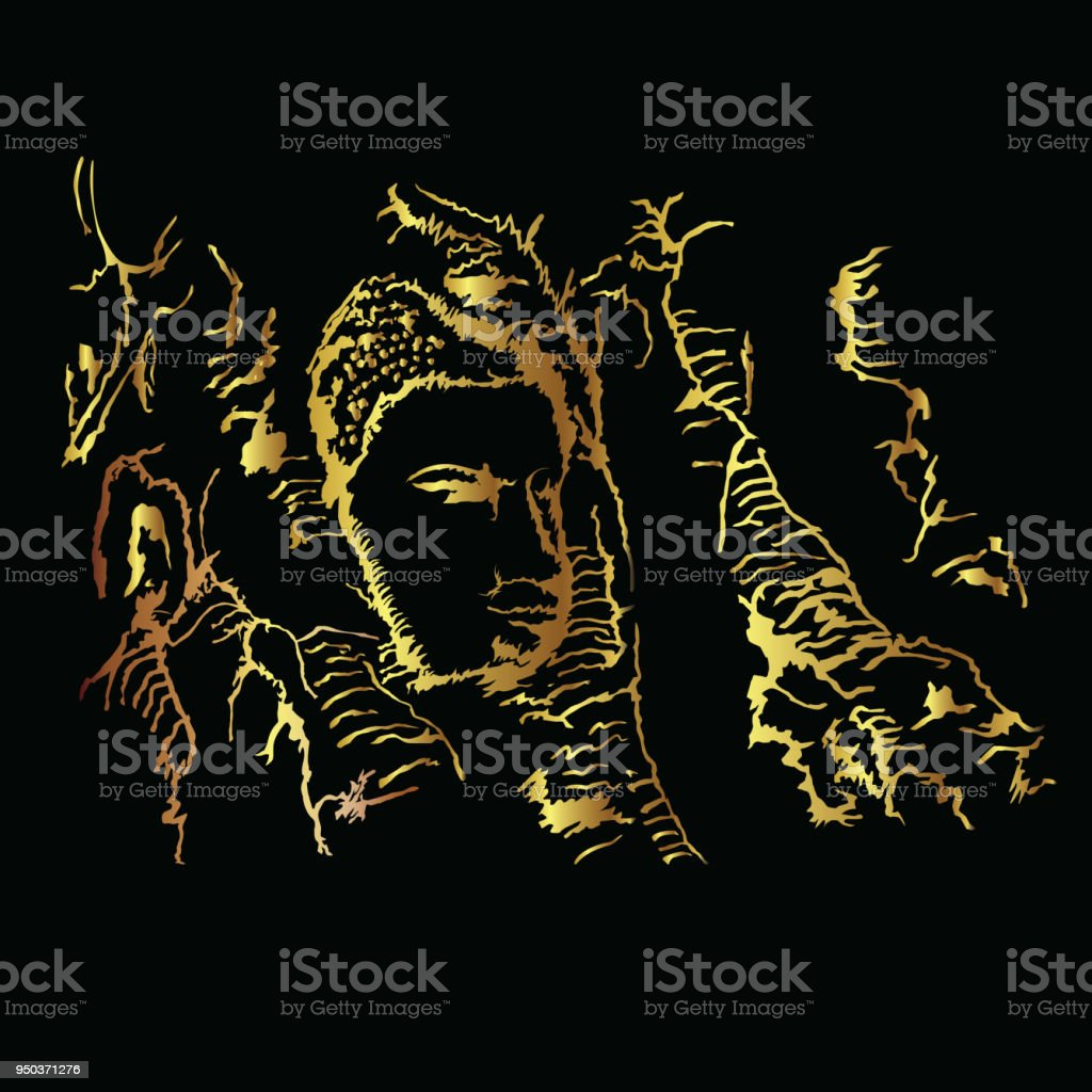 Buddha head embedded in a Banyan tree at Wat Mahathat, Ayutthaya vector art illustration
