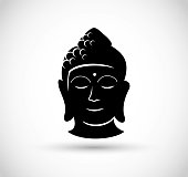 Buddha head icon vector