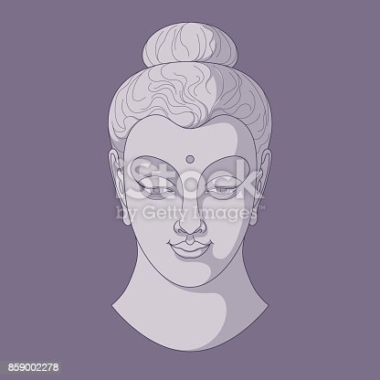 Vector illustration of a stylized Buddha head in three tones, shades of purple.