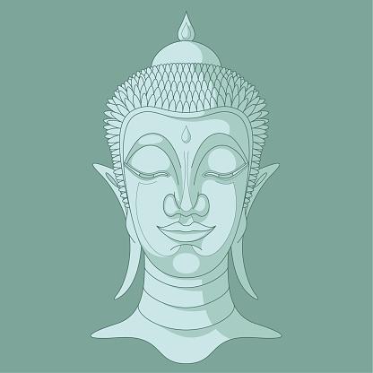 Buddha Head n° 7 (Three tones, Turquoise)