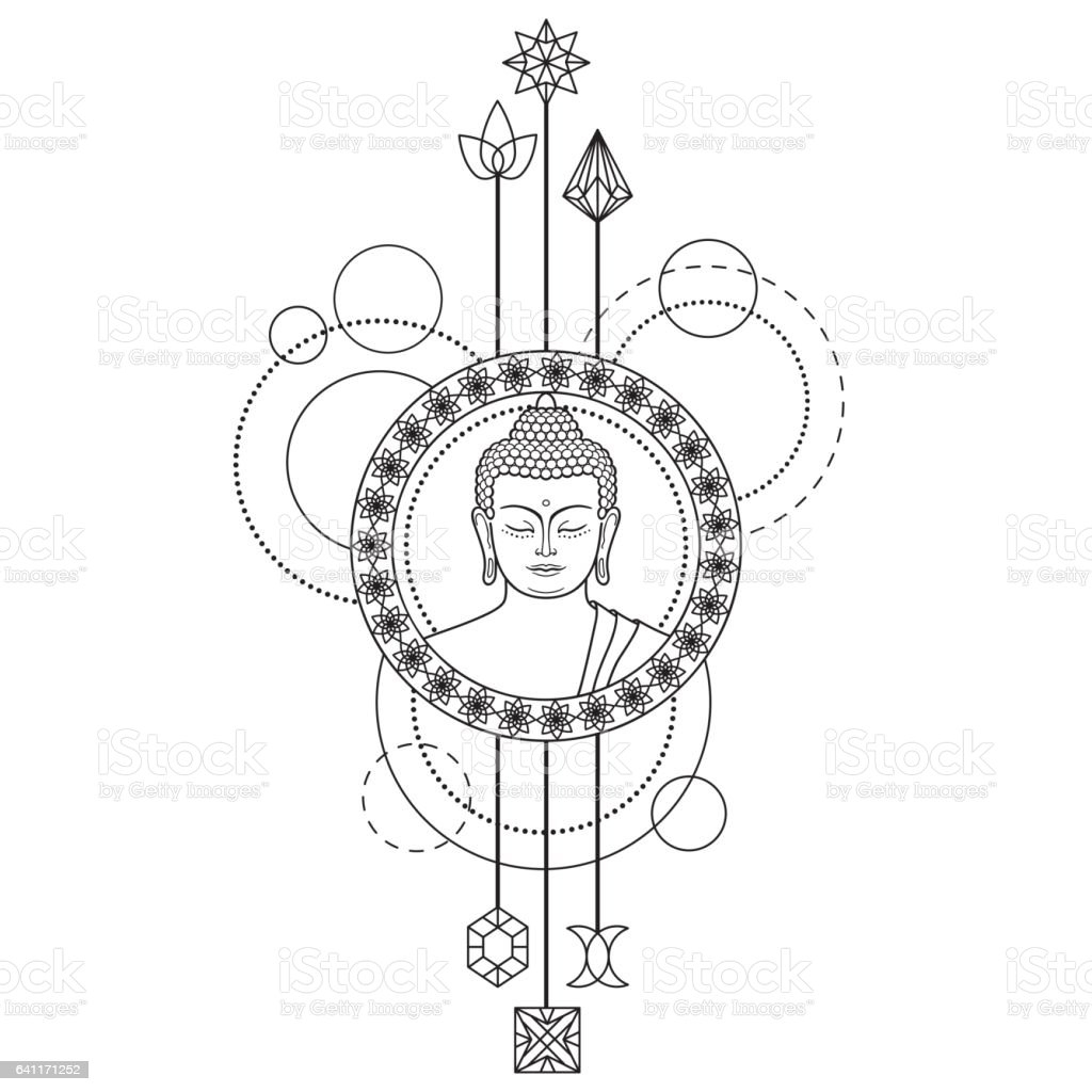 Buddha Head on Abstract Background vector art illustration