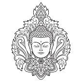 Buddha Head on Floral Background