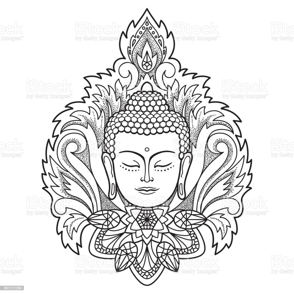 Buddha Head on Floral Background vector art illustration