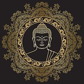 Buddha Head on Mandala Background