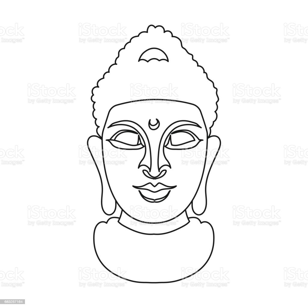 Buddha icon in outline style isolated on white background. Religion symbol stock vector illustration. royalty-free buddha icon in outline style isolated on white background religion symbol stock vector illustration 고대의에 대한 스톡 벡터 아트 및 기타 이미지
