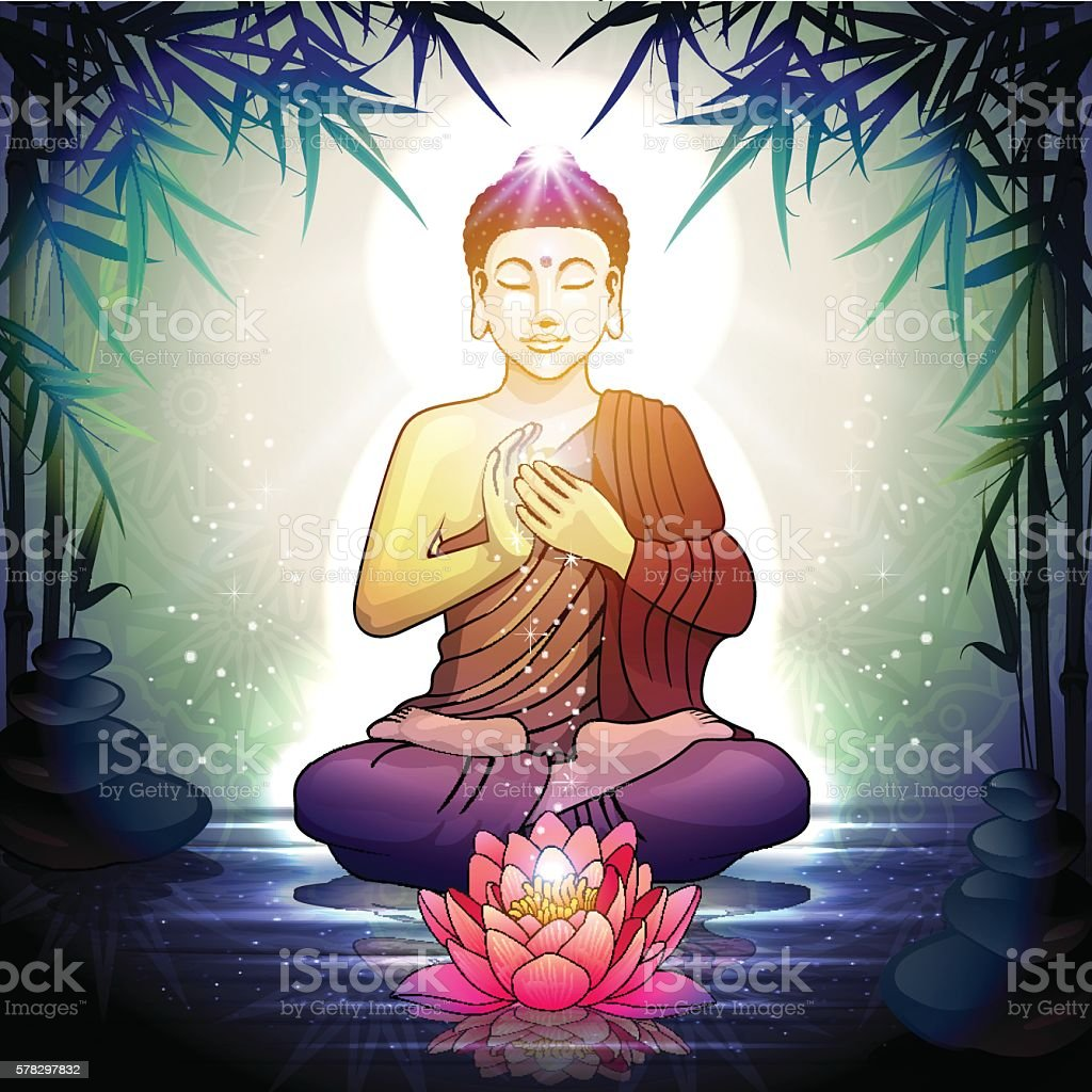 Buddha In Meditation With Lotus Flower Stock Vector Art More