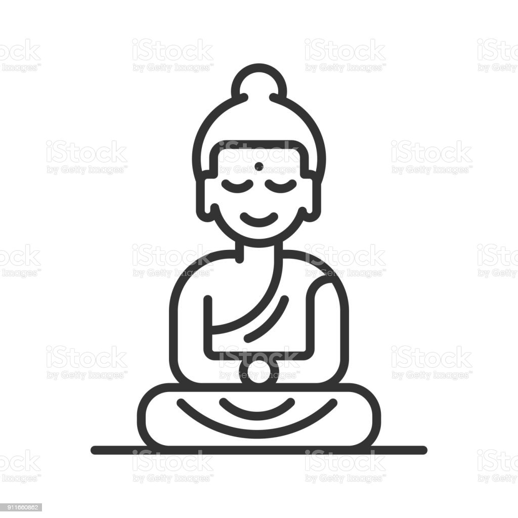 Buddha Line icon vector art illustration