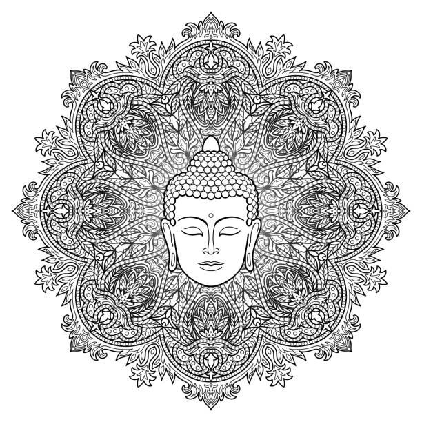 buddha mandala coloring page - buddha stock illustrations, clip art, cartoons, & icons