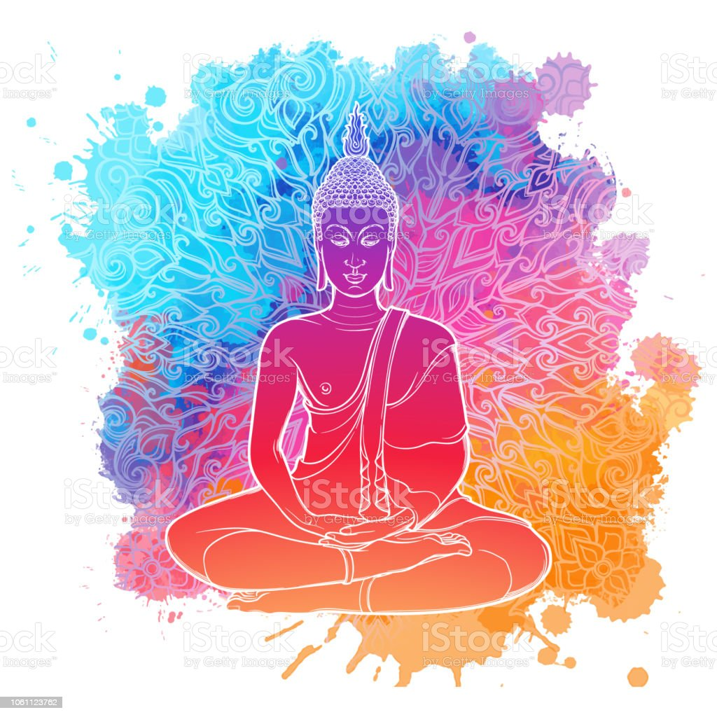 Dessin De Bouddha buddha meditating in the single lotus position linear