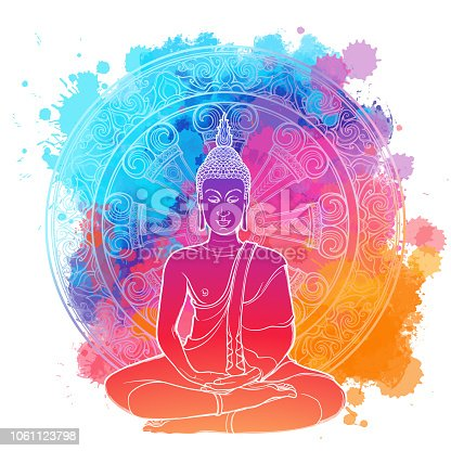 Buddha meditating in the single lotus position. linear drawing Isolated on a bright textured watercolor spot with an intricate thai ornament. Textile print, yoga background. Tattoo design. EPS10