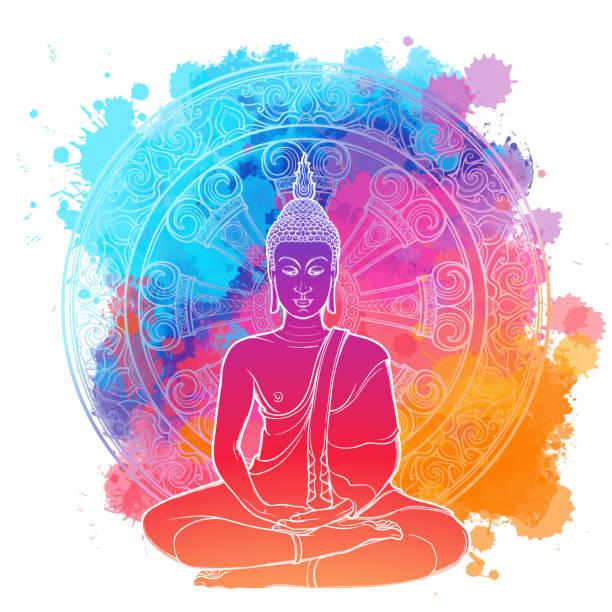 stockillustraties, clipart, cartoons en iconen met boeddha mediteren in de lotuspositie één. lineaire tekening geïsoleerd op een heldere structuur aquarel vlek met een ingewikkelde thaise ornament. - buddha