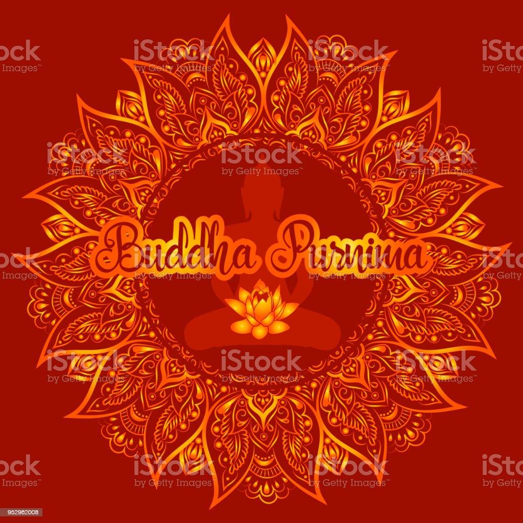 Buddha Purnima Vector Illustratie Wenskaart Stockvectorkunst En Meer