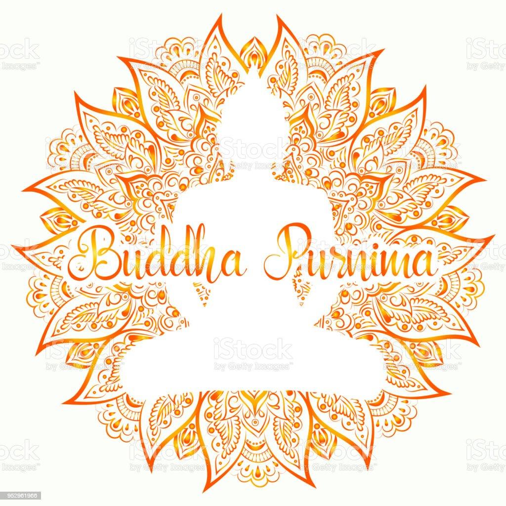 Buddha Purnima Vector Illustration Mandala Lotus Flower With Buddhas